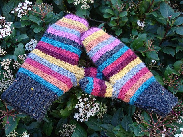striped mittens finished by marbada, via Flickr