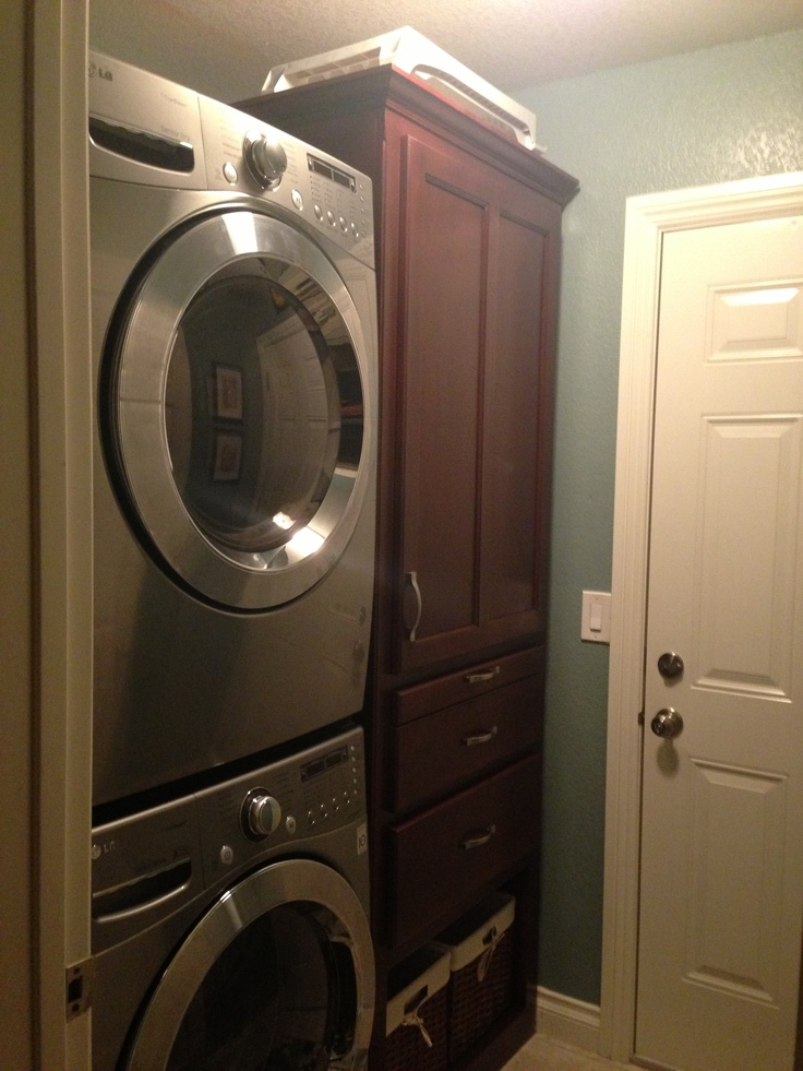 tiny laundry room added custom cabinet with pull out. Black Bedroom Furniture Sets. Home Design Ideas