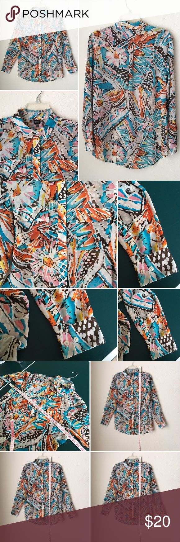 Flowy Abstract Print buttons shirt top L/Sleeve RAFAELLA STUDIO Flowy Abstract Print women sz M button down shirt top L/Sleeve.Very good used condition. Like artists canvas. Gorgeous print and colors. Buttons down collar shirt, two chest flap pockets, very light n airy,rounded hem, long buttons cuffed sleeves. Smoke pet free. Measurements included. No tear rip holes stains. Rafaella Tops Button Down Shirts