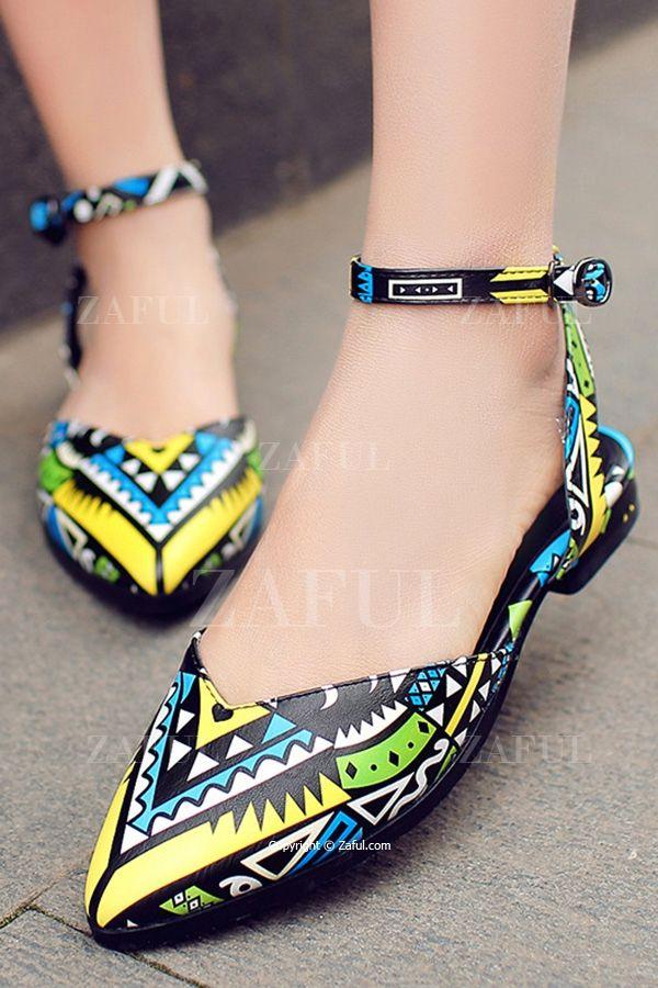 print ankle strap flat heel sandals