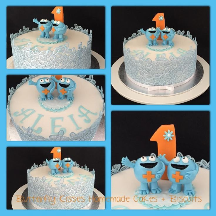 """1st birthday cake with the little blue men from the """"Inner Health Plus"""" ad :-)"""