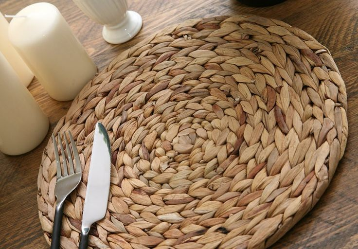 Set of 8 Woven Natural Water Hyacinth Placemats