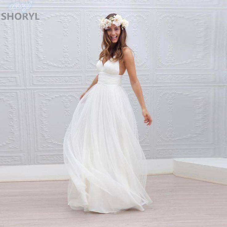 2017 New Arrival Sleeveless Organza And Tulle V-neck Backless Spaghetti Straps Cheap Wedding Dress Vestidos De Noiva Trouwjurk
