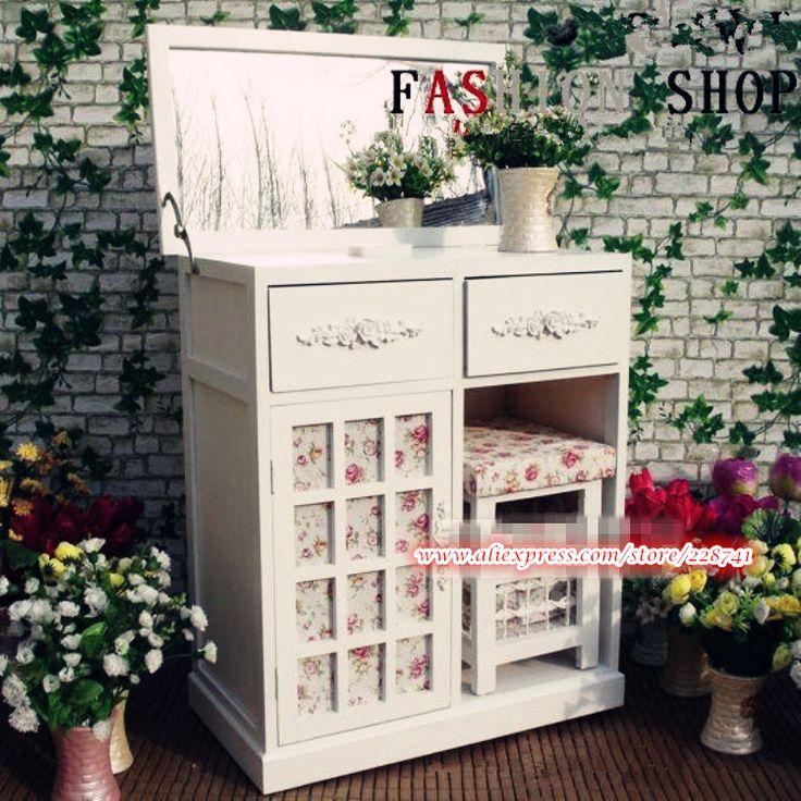 Европейский стиль сельской местности мебель для спальни деревянные девушки комод туалетный столик с зеркалом тщеславие комплект купить на AliExpress