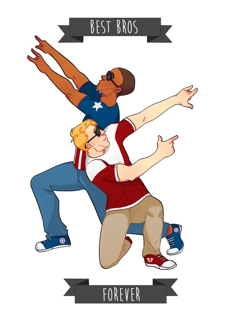 Sam Wilson and Steve Rogers - BFFs flaunting each other's colors.