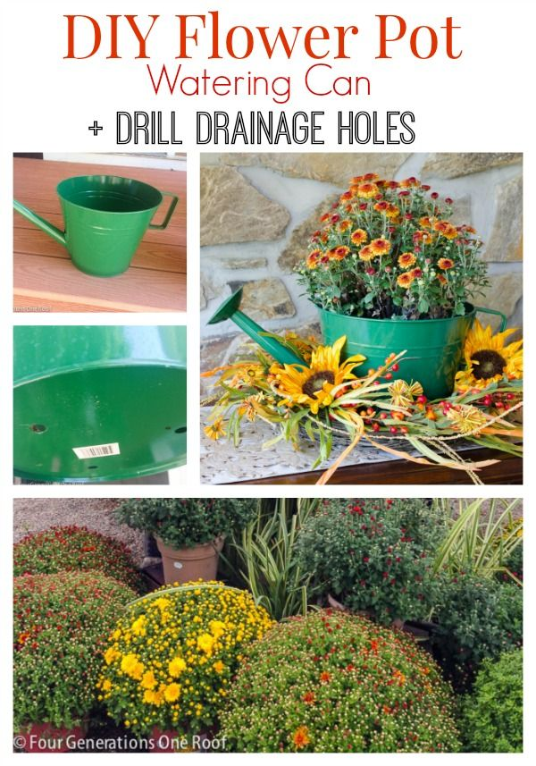 Need a quick way to jazz up a boring plastic planter? How about this!! A DIY Watering Can Flower Pot.