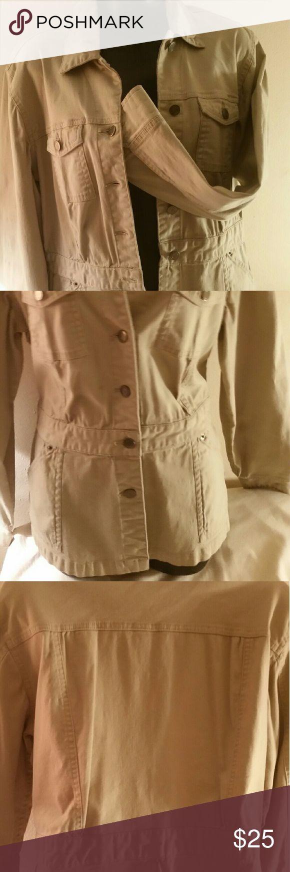 Cargo Safari Jacket  (M) Khaki brass button front and cuffs, cargo safari jacket. Style & Co Jackets & Coats