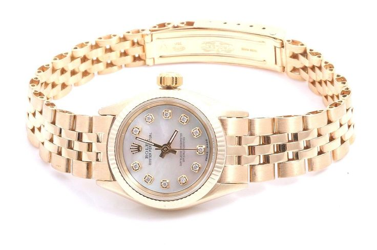 #Forsale #Rolex Ladies 18k Yellow Gold Oyster Perpetual Watch Mop Diamond Dial - Price @$2,950.00