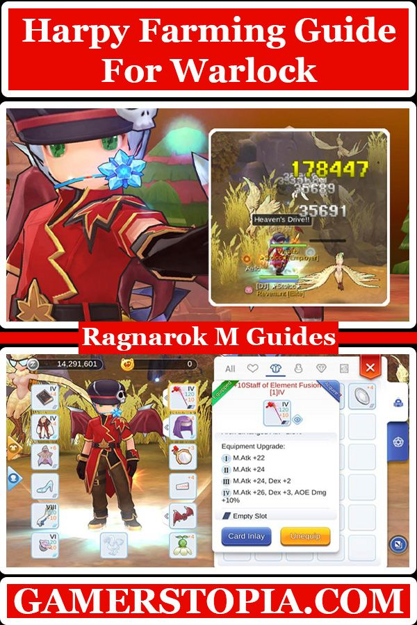 Recommended Equips Stats Cards Skills And Best Spots Farming As A Warlock From Harpy Monsters In Ragnarok Mobile Farming Guide Ragnarok Mobile Eternal Love