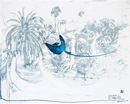 One of my favourite artists and artworks of all time:  'The Turquoise Prince'  Ink & oil on board and collage  Brett Whiteley