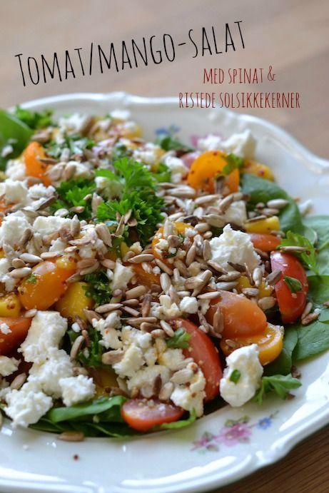Tomat/mango-salat med spinat & ristede solsikkekerner