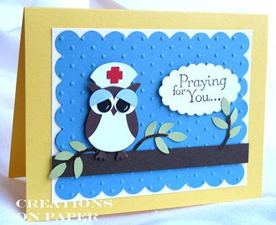 nurse owl better than the last owl I made: Owlpunch Cards, Betty Owl, Nurse, Paper, Owl Cards, Cards Get Well, Cards Owls, Get Well Cards, Cards Owl Punch