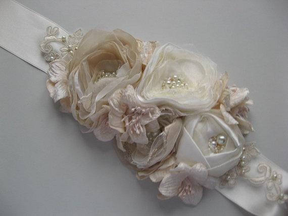 Bridal sash wedding ribbon belt flowers floral nude by LeFlowers, $112.00