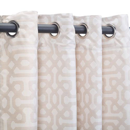 Sunbrella Curtain with Grommets Fretwork Flax