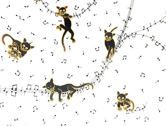 hand painted silk scarf for cat lovers: black cats playing with music, 90cm x 90cm square, black and gold gutta, black silk dye on white
