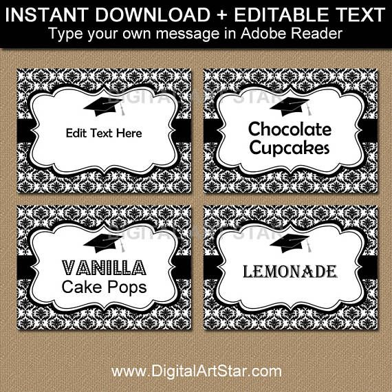 Black and White Damask #GraduationParty Candy Buffet Labels - perfect for an elegant graduation party theme