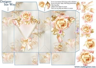 A flowerful gift bag with beautiful blush & gold roses, which is very easy to make & is perfect for holding gift cards & vouchers, jewellery, sweets or any small gifts. Would make a lovely table decoration with a surprise inside, maybe even wedding favours.    Includes gift bag, a few decoupage layers & instructions, all on one sheet.     Perfect for a birthday, mother's day, anniversary, wedding or retirement gift.