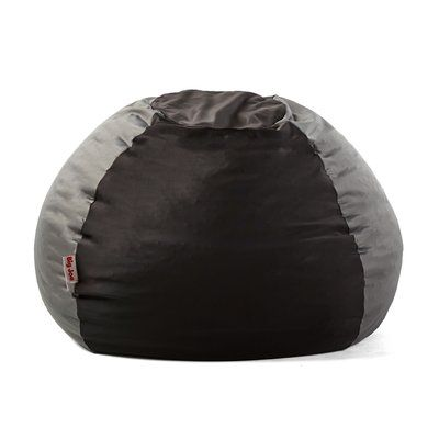 Big Joe Kushi Bean Bag Chair Upholstery Jet Black Charcoal Gray