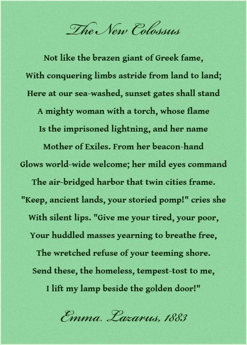 The new colossus not many know the full poem inscribed on the statue of liberty