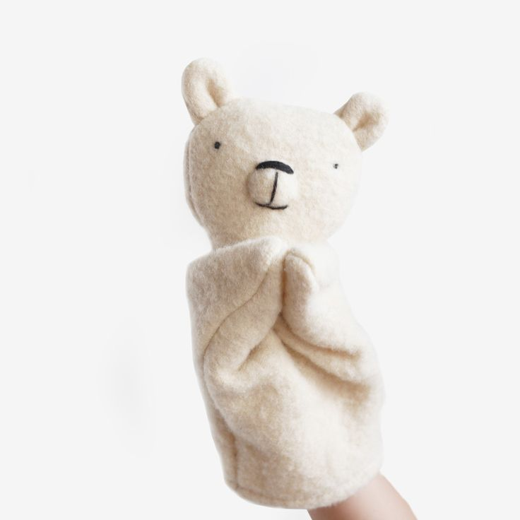 Polar Bear Puppet - Each of these one-of-a-kind hand puppets is handcrafted in Montreal from upcycled wool sweaters and pure wool stuffing