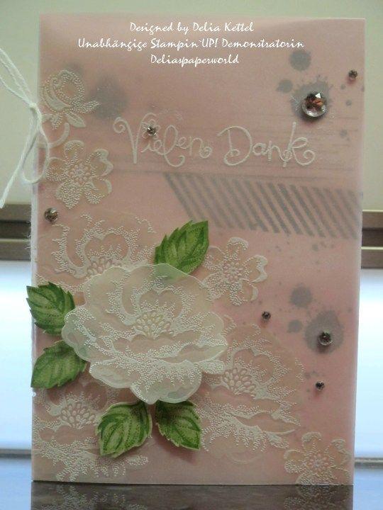 """Stampin`UP! Weiße Rosen auf Vellum   White """"Stippled Blossoms"""""""
