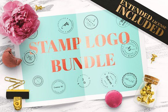 90 Stamp Logo Templates Bundle by IsikChic on @creativemarket