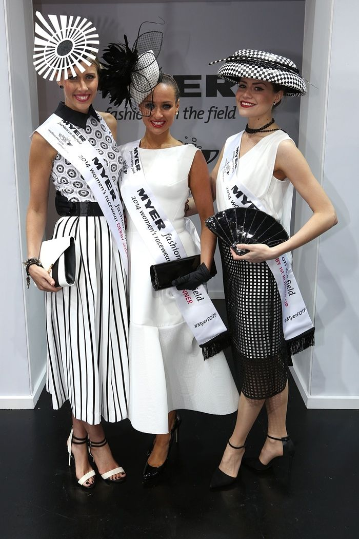 Myer fashions on the field women's racewear winners, first place Brodie Worrell (C), first runner up Olivia Moor (L) and second runner up Stacie Kidner (R) at Derby Day.