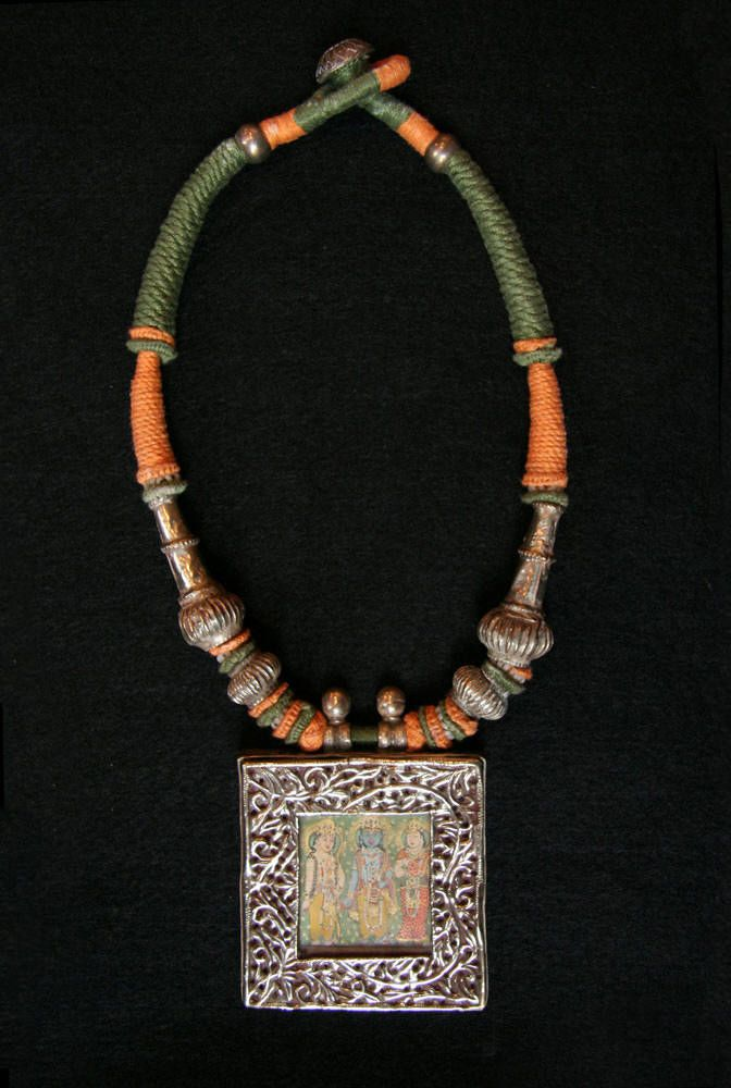 India | Lord Krishna Silver Amulet Box necklace from Rajasthan | ca. 20th century