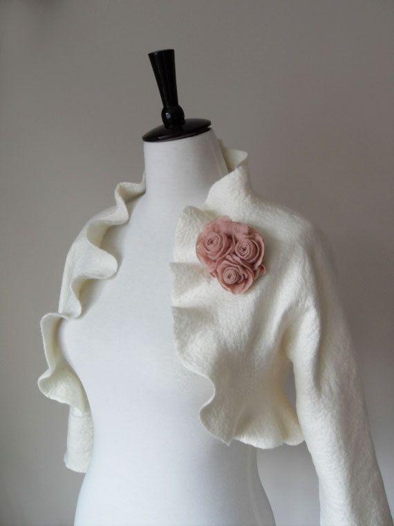 For the sweet, garden bride. Bridal Jacket Bolero Shrug Ivory White Wedding Jacket 3/4 Sleeves Wool and Silk Felted with Blush Rose Flowers. £110.00, via Etsy.