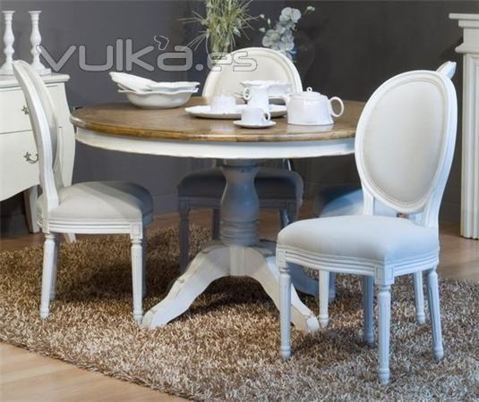 Mesa de Comedor Redonda Pie Blanco Decapado Artelore. | decoración ...