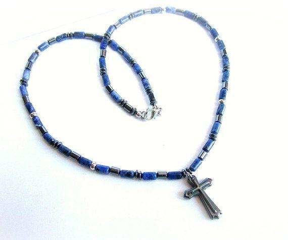 Men cross necklace sodalite beaded necklace men blue black