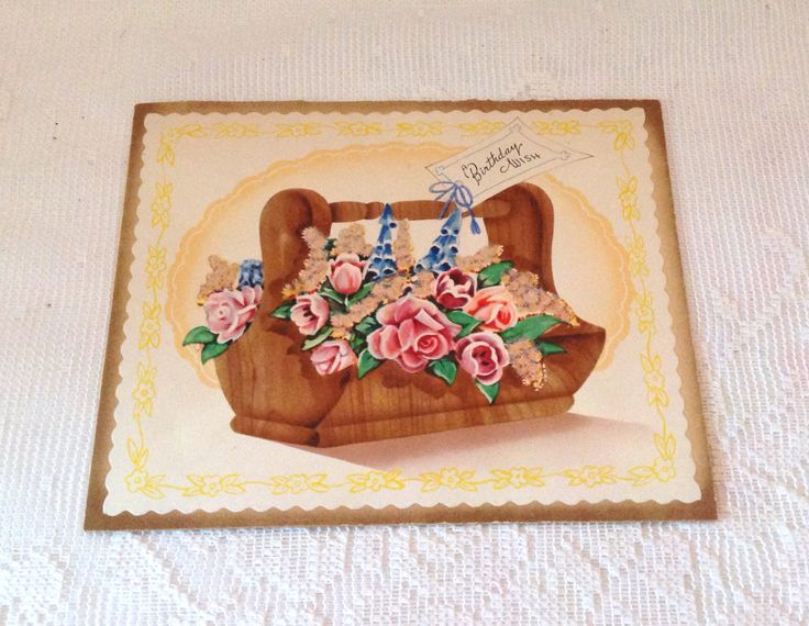 Vintage 1950's rose birthday card, roses in basket floral retro birthday card by LakesideVintageShop on Etsy