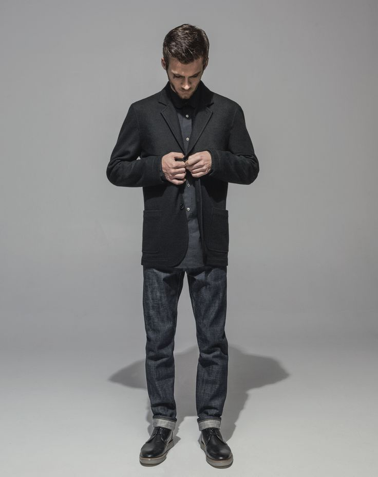 1/2 Lined Wool Jersey Jacket (Black) High Count Poplin Club Collar Shirt (Black) Slim Fit Vintage Cross Hatch Selvedge - RAW (Indigo)
