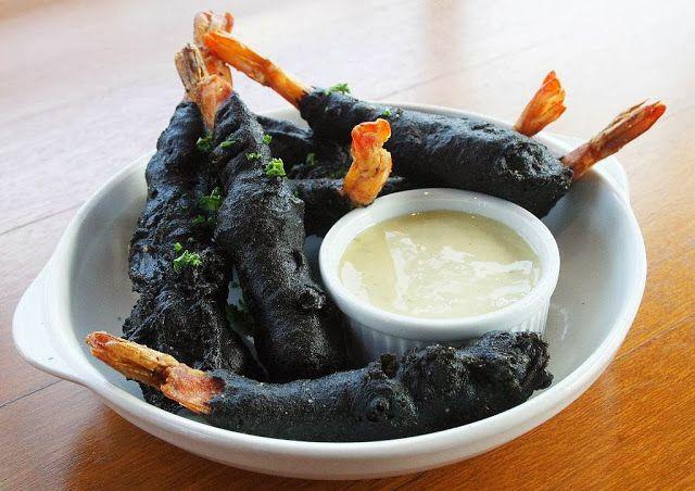 Squid Ink Battered Prawns with Jalapeño-Honey Aioli