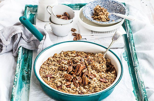 Baked gingerbread porridge with caramelised pecans | Australian Natural Health Magazine
