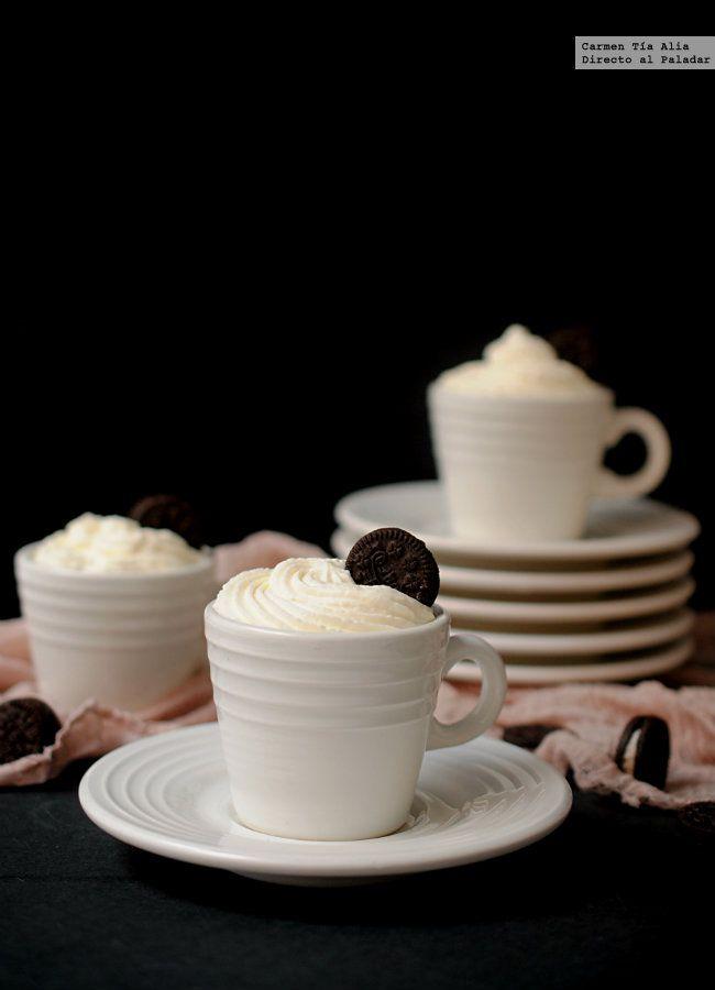 Crema de oreo, yogur y chocolate blanco. Receta