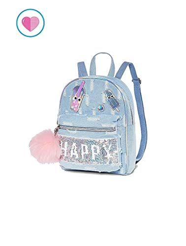 9fa0a748f New Justice Mini Backpack Flip Sequin Happy Smile Denim online.   34.95   topbrandsclothing