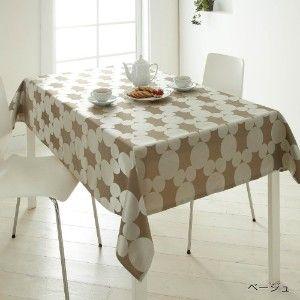 テーブルクロス 暖か カーテンなどに使われるリッチなジャガード生地で仕立てたテーブルクロス。ミッキーを思わせるラスターサークルの光沢感が高級感ある食卓を演出します。