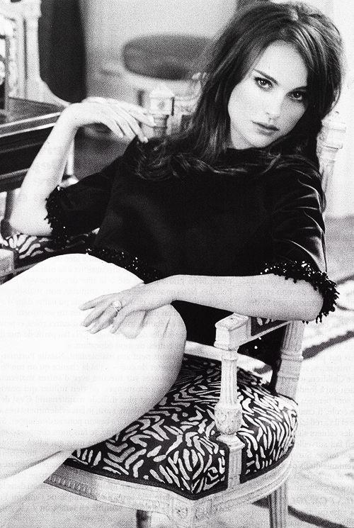 Natalie Portman wearing a satin, bead trimmed, black & white sheath for Elle France, September 2012