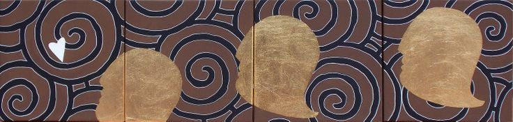 """andrea mattiello """"In corsa per l'amore"""" acrilico e foglia oro su tela cm 80x20 (4 tele cm 20x20); 2013 #arte #contemporanea #artista #emergente #art #contemporaryart #amore #love #sanvalentino"""