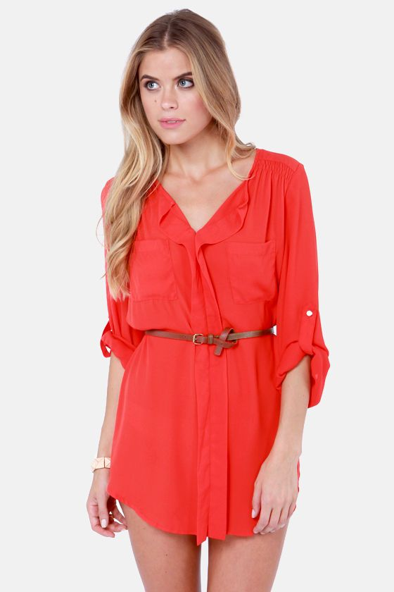 Keep it Real Belted Red Shirt Dress at http://www.lulus.com/products/keep-it-real-belted-red-shirt-dress/98458.html
