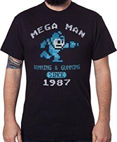 Men's Mega Man Running and Gunning Since 1987 Vintage T-Shirt