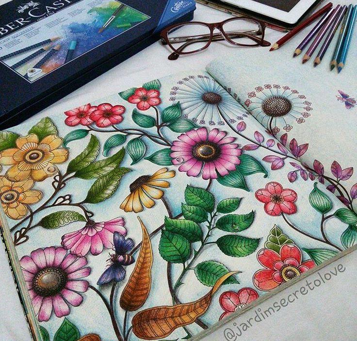 Big Flowers Double Page Secret Garden Flores Grandes Pagina Dupla Jardim Secreto Johanna Basford