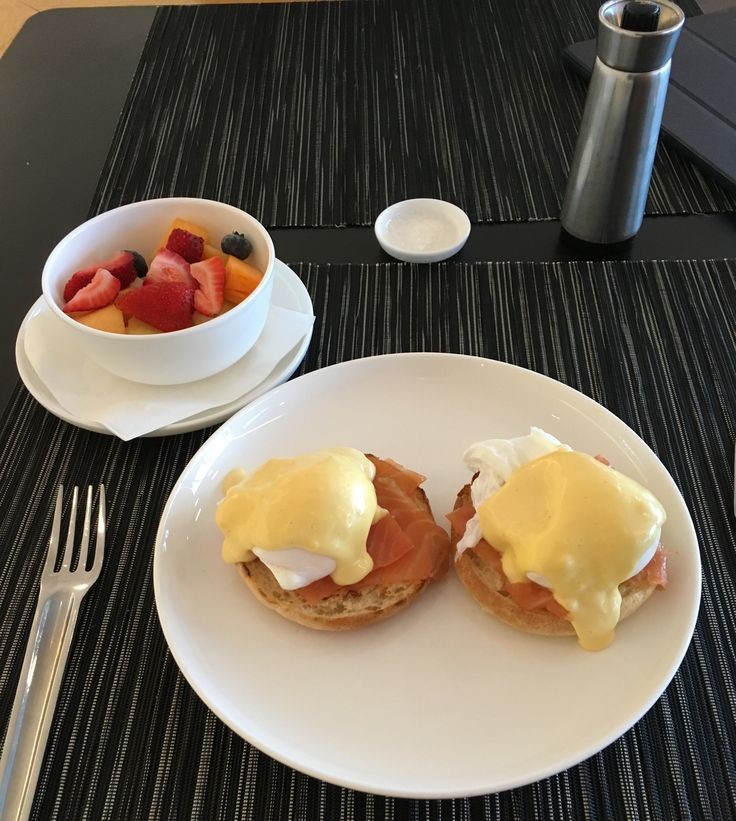 Eggs benedict with salmon, Qantas first class lounge, Sydney