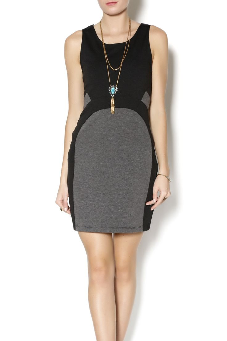 Sleeveless black & gray colorblock bodycon dress with back cut outs. Looks great with booties and a moto jacket for a night out. Casablanca Dress by Gentle Fawn. Clothing - Dresses Cincinnati, Ohio