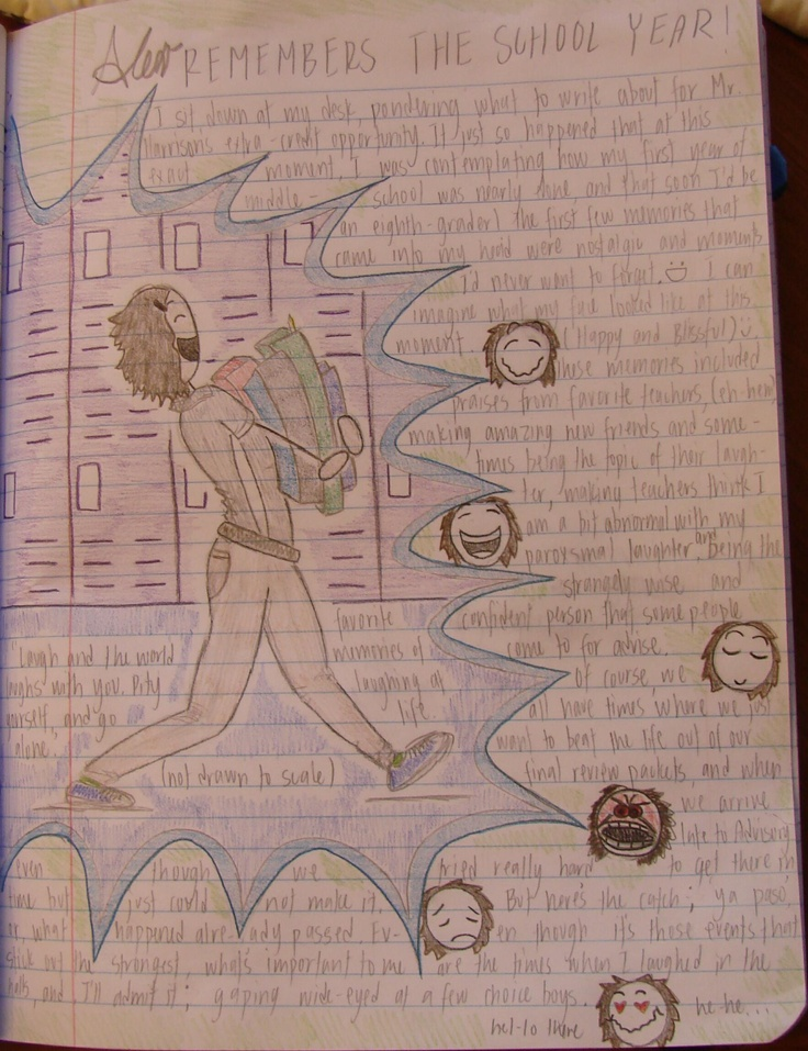 Alejandra always blows my mind with her page layouts that feature Mr. Stick. Here she recalls school memories at the end of the year.