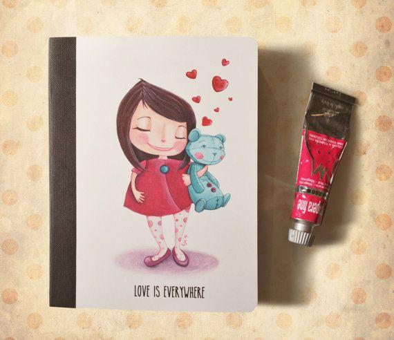 Agenda kraft piccola, illustrazione bambina con orsacchiotto - copertina con disegno, appunti e ricette