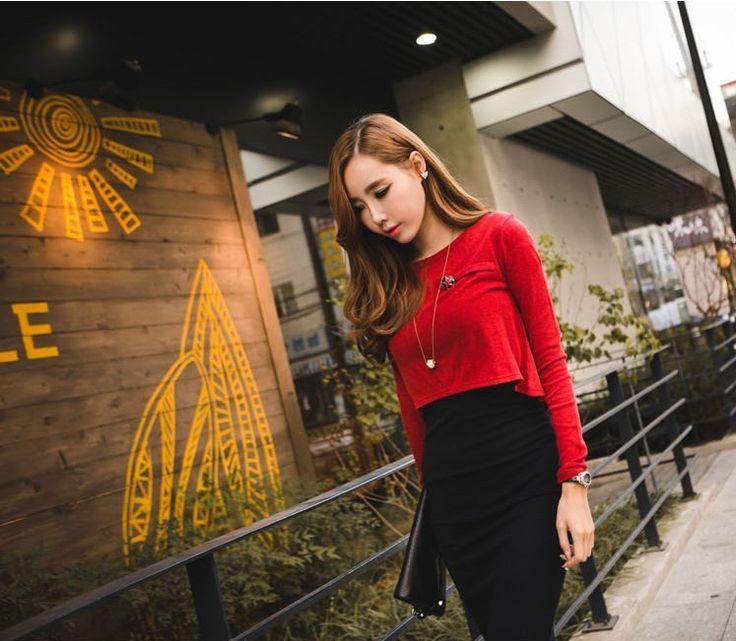 """Красное платье с чёрной юбкой \""""карандаш\"""" Коллекция 2015: платье юбка карандаш - Интернет-магазин Fashion.DaoBao.ru"""