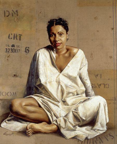 """""""Deborah Mailman"""" in 1999 by Evert Ploeg. Oil on jute wool bale. National Portrait Gallery. Love this work. Beautiful woman, beautiful painting. S"""