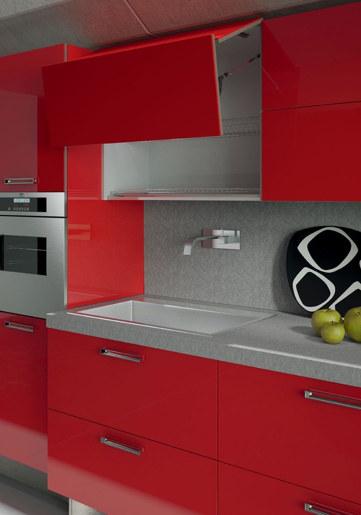 Red acrylic doors. Gres Steel worktop. #ArritalCucine #Kculture #modern #kitchen #Light